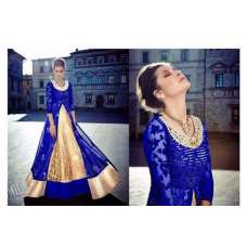 FL7347-A BLUE AND GOLD GEORGETTE FLORAL ANARKALI SUIT
