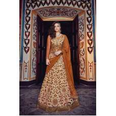 7375 BRONZE FLORAL CARLA HEAVY EMBROIDERED WEDDING WEAR GOWN