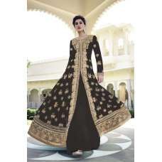 FL-7318B Black Nargis Fakhri Georgette Anarkali Dress