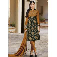 FL7315 MUSTARD AND GREEN FLORAL STRIAGHT CUT STYLE VELVET SUIT