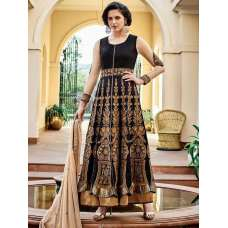 FL7352 BLACK AND GOLD GEORGETTE FLORAL ANARKALI SUIT