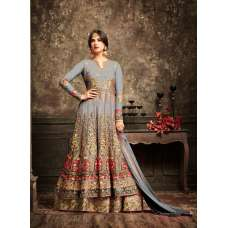 Harbor Mist and Gold Wedding Wear Bridal Gown Anarkali Long Indian Dress