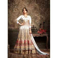 White and Gold Wedding Wear Bridal Gown Anarkali Indian Long Dress
