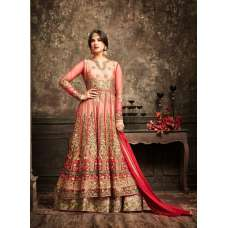 Blooming Dahlia and Gold Wedding Wear Bridal Gown Anarkali Indian Long Dress