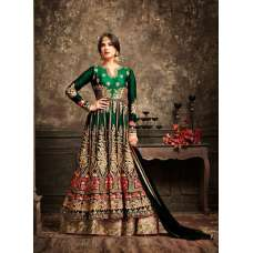 Green and Gold Wedding Wear Bridal Gown Anarkali Indian Long Dress