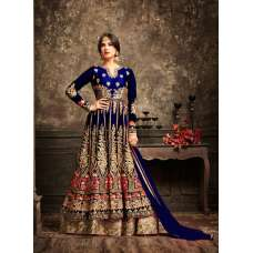 Sailor Blue and Gold Wedding Wear Bridal Gown Anarkali Long Indian Dress