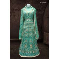 GREEN BOLLYWOOD DESIGNER WEDDING AND BRIDAL ETHNIC LEHENGA  (FREE STITCHING)