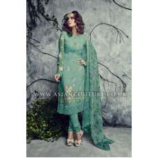Green Indian Pakistani Georgette Churidar Party Wear Suit