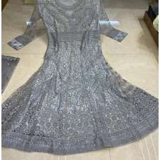 Grey Indian Designer Heavy Embroidered Wedding Gown