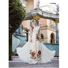COCONUT MILK WHITE HUSHN ANARKALI STYLE WEDDING WEAR GOWN