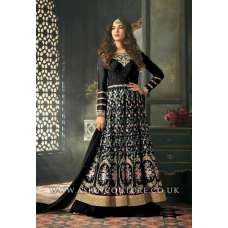 Black Indian Party Wear Asian Anarkali Wedding Bridal Gown Dress