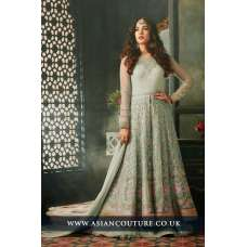Nile Green Indian Party Wear Asian Anarkali Wedding Bridal Gown Dress