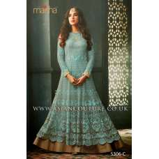 Turquoise Indian Party Wear Asian Anarkali Wedding Bridal Dress