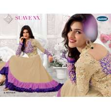 "Beige and Purple KRITI SANON ""SUAVE COLORS"" WEDDING WEAR ANARKALI"