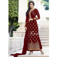 Artistic Red Party Wear Embroidered Salwar Kameez