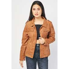 BROWN FRONT POCKET STYLE SUEDETTE JACKET FOR LADIES