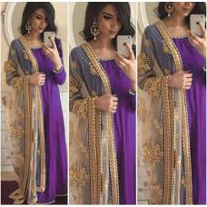 PURPLE ANARKALI DRESS WITH EMBROIDERED DUPATTA