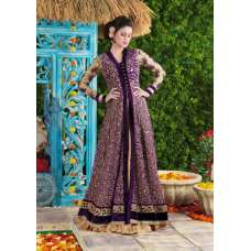 4616 Purple Princess Wedding Wear Embroidered Gown