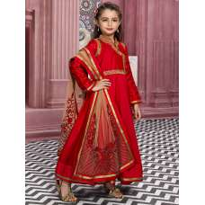 RED SILK WEDDING WEAR ANARKALI DRESS