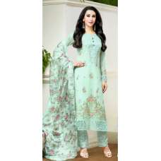 Mf-67010 Sea Green Semi Stitched Embroidered Suit