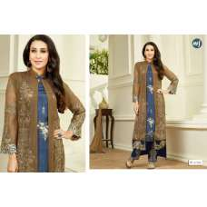 67014 BROWN AND BLUE MF EMBROID BY KARISHMA KAPOOR DESIGNER SUIT