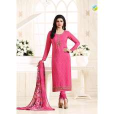 KS-4928 PINK KASEESH SILKINA FRENCH CREPE PARTY WEAR SUIT