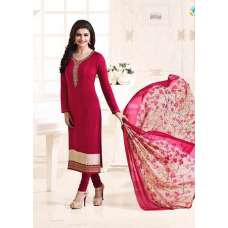 KS-4923 RED KASEESH SILKINA FRENCH CREPE PARTY WEAR SUIT