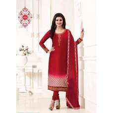 KS-4926 RED KASEESH SILKINA ROYAL CREPE PARTY WEAR SUIT