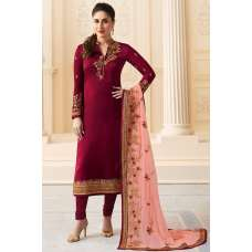 6276 MAROON KASEESH KAREENA KAPOOR SATIN GEORGETTE SUIT WITH HEAVY WORK DUPATTA