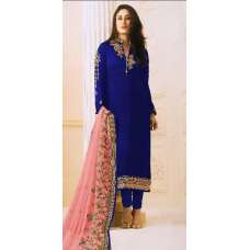 SAILOR BLUE GREEN SATIN GEORGETTE SUIT WITH HEAVY WORK DUPATTA