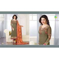 Mehndi Green & Orange Pakistani Salwar Suit