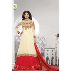 K3936 CREAM AND RED KASEESH PRACHI-19 DESIGNER ANARKALI SUIT