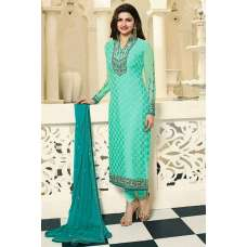 4387 TURQUOISE KASEESH MAGICAL BRASSO STRAIGHT SALWAR KAMEEZ SUIT