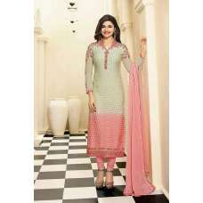 4388 BEIGE AND PINK KASEESH MAGICAL BRASSO STRAIGHT SALWAR KAMEEZ SUIT