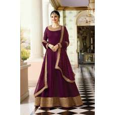 7175 PLUM GEORGETTE LONG ANARKALI WEDDING STYLE GOWN