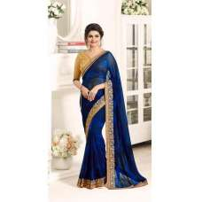 17701 BLUE AND GOLD KASEESH PRACHI GEORGETTE SAREE WITH HEAVY EMBROIDERED BLOUSE
