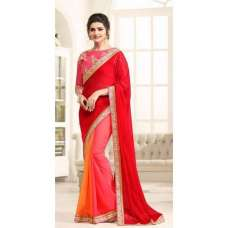 17702 PINK AND RED KASEESH PRACHI GEORGETTE SAREE WITH HEAVY EMBROIDERED BLOUSE