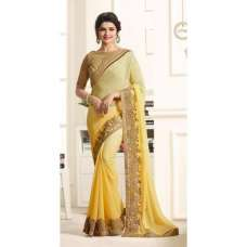 17703 PRIMROSE YELLOW AND CREAM KASEESH PRACHI GEORGETTE SAREE WITH HEAVY EMBROIDERED BLOUSE