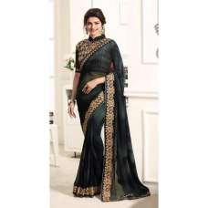 17708 BLACK KASEESH PRACHI GEORGETTE SAREE WITH HEAVY EMBROIDERED BLOUSE