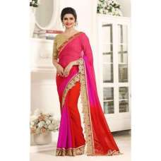 17710 PINK AND RED KASEESH PRACHI GEORGETTE SAREE WITH HEAVY EMBROIDERED BLOUSE