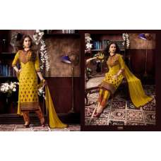 KIYAZA PENTAHOUSE YELLOW PURE COTTON SALWAR KAMEEZ SUIT