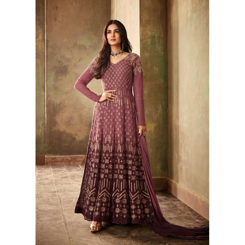 Burgundy Indian Party Anarkali Gown