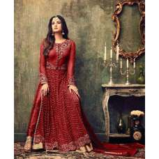 AC4707-C RED INDIAN HEAVY EMBROIDERED WEDDING WEAR DRESS