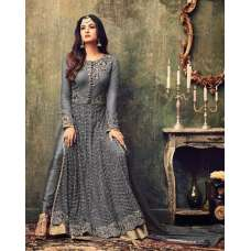 AC4707-D GREY INDIAN HEAVY EMBROIDERED WEDDING WEAR DRESS
