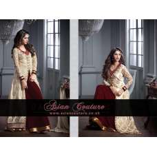 M20002-A MAROON AND SILVER GEORGETTE PARTY WEAR ANARKALI SUIT