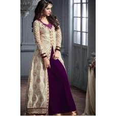 M20002-C PURPLE AND SILVER GEORGETTE PARTY WEAR ANARKALI SUIT