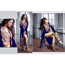 ZM20004-A BLUE AND GOLD GEORGETTE PARTY WEAR ANARKALI SUIT