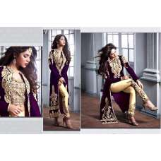 M20004-C PURPLE AND GOLD GEORGETTE PARTY WEAR ANARKALI SUIT