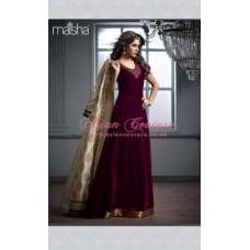 M2602 MAROON AND SLIVER MAISHA DESIGNER JACKET STYLE SUIT
