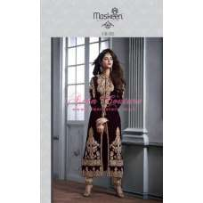 M2605 MAROON AND GOLD MASKEEN MAISHA DESIGNER SUIT